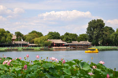 Shichahai area (The Three Rear Lakes ). This is Shicha Lake in the centre of Beijing.It is a historical site and many visitors come here in summer stock photography
