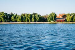 Shichahai Houhai lake and Chinese traditional pavilion in Beijing, China royalty free stock photo