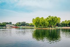 Shichahai Qianhai lake in Beijing, China stock photography