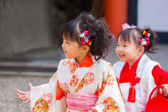 Shichi去圣庆祝在Ikuta Jinja -神户 库存照片