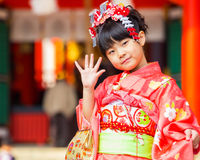 Shichi去圣庆祝在Ikuta Jinja -神户 库存图片