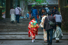 Shichi去圣;段落传统礼拜式在日本 免版税库存照片
