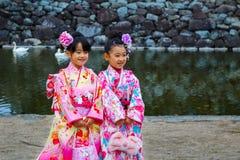 Shichi去圣;段落传统礼拜式在日本 免版税库存图片