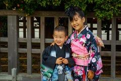 Shichi去圣;段落传统礼拜式在日本 免版税图库摄影