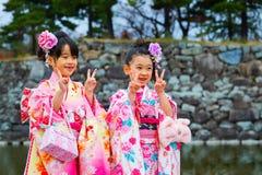 Shichi-gå-san; Traditionell ritual av passagen i Japan Arkivbild