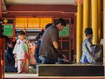 Shichi-go-san celebration at Dazaifu Tenmangu. FUKUOKA, JAPAN - NOVEMBER 13: Shichi-go-san in Fukuoka, Japan on November 13, 2013. Traditional rite of passage Royalty Free Stock Photography