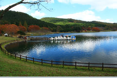 Shidaka lake, oita prefecture japan. Campsite, boat leisure where you can play Royalty Free Stock Image