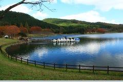 Shidaka lake, oita prefecture japan. Campsite, boat leisure where you can play Royalty Free Stock Image