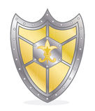 Shield. Gold shield with the ornament, illustration Royalty Free Stock Photo