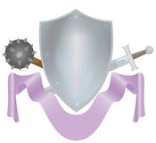 Shield. With weapon and bend Royalty Free Stock Photo