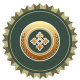 Shield. In gold and green Stock Images