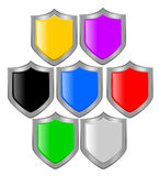 Shield. Illustration of shield in different colors stock illustration