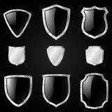 Shield. Set of 9 shields of different shapes Royalty Free Stock Photography