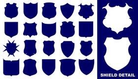 Shield. Twenty blue shields on the white background Royalty Free Illustration