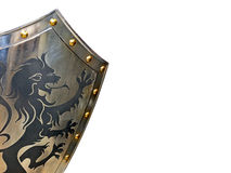 Shield. Medieval iron armor shield with lion decoration Royalty Free Stock Photos