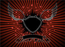 Shield. With wings on red background royalty free illustration