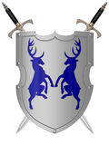 Shield. The image of the shield laying on a background, 3D rendering Stock Photography