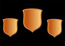 Shield. Three shield on black background Royalty Free Stock Photo