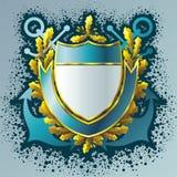 Shield. Naval shield, anchors, ribbon and oak branches Royalty Free Stock Image