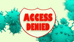 Shield with access denied text, viruse models. antivirus programm abstract Stock Photo
