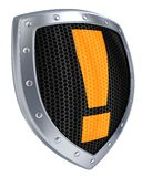 Shield alert. Iron shield, alert symbol (done in 3d Royalty Free Stock Photography