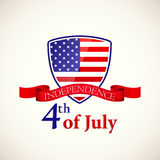 Shield with american flag for the independence day Royalty Free Stock Images