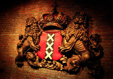 Shield of Amsterdam. The Shield of Amsterdam on a brick wall Stock Photo