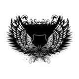 Shield with angel wings Stock Images