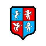 Shield and Animals heraldic set symbol. Pegasus and Lion and Gry. Phon. Sign Beast for coat of arms. Royal Vector illustration Stock Photography