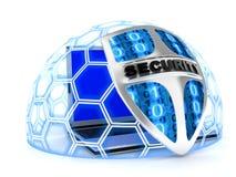 Shield antivirus and laptop Stock Photos