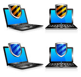 Shield antivirus laptop 3D and 2D. Computer antivirus security protection, firewall digital shield concept Stock Photo