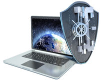 Shield antivirus and laptop, abstract.  Stock Photography