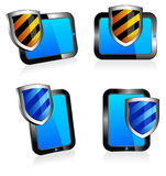 Shield antivirus Tablet 3D and 2D Stock Photography