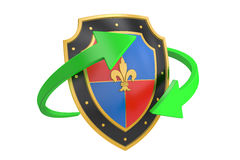 Shield with arrows, 3D rendering. On white background Stock Photos