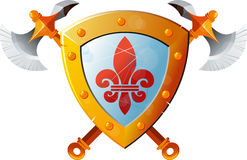 Shield With Axe Royalty Free Stock Images