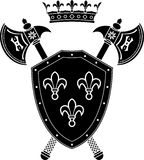Shield, axes and crown Stock Images