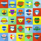 Shield badge icons set, flat style. Shield badge icons set. Flat illustration of 25 shield badge vector icons for web Royalty Free Stock Photo