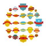 Shield badge icons set, flat style. Shield badge icons set. Flat illustration of 25 shield badge vector icons isolated on white background Royalty Free Stock Image