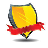 Shield and banner. Glossy icon with shield and banner Royalty Free Stock Photos