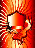 Shield banner flying girl. Vector illustration of woman flying with shield and banner stock illustration