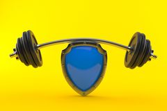 Shield with barbell Royalty Free Stock Photos