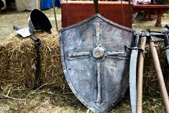 Shield and battle ax Stock Images