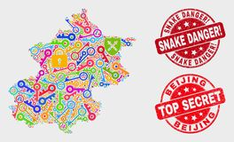 Collage of Key Beijing City Map and Distress Snake Danger! Watermark stock illustration