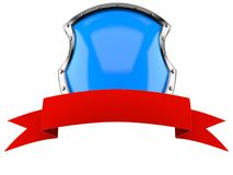 Shield with blank red ribbon Stock Images