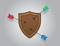 Shield Blocking Arrows. Wooden shield blocking multiple arrows Royalty Free Stock Photography