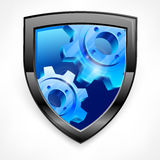 Shield with blue gear on white Royalty Free Stock Image