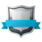 Shield with blue ribbon Stock Photos