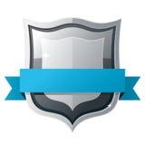 Shield with blue ribbon. Black shield with blue ribbon Stock Photos