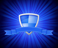 Shield with blue ribbon for message Royalty Free Stock Images