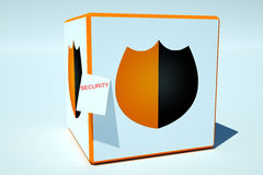 Shield on the box Stock Images